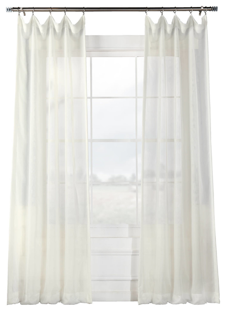 "Signature Off White Sheer Curtain Single Panel, 50""x108"" Pertaining To Double Layer Sheer White Single Curtain Panels (View 43 of 50)"