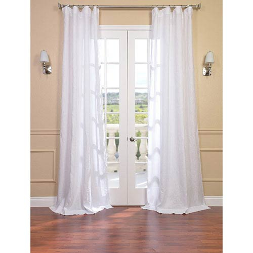 Signature Purity White French Linen Sheer Single Panel Curtain Panel, 50 X  120 In Linen Button Window Curtains Single Panel (#34 of 40)