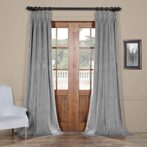 Signature Silver Gray 25 X 108 Inch Signature French Pleated Blackout  Velvet Curtain Within Signature Blackout Velvet Curtains (#40 of 50)