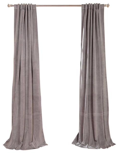 "Signature Silver Gray Blackout Velvet Curtain Single Panel, 50""x120"" Inside Signature Blackout Velvet Curtains (#41 of 50)"