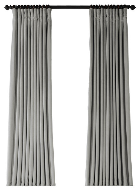"Signature Silver Gray Velvet Blackout Curtain Single Panel, 100""x108"" Throughout Signature Ivory Velvet Blackout Single Curtain Panels (#43 of 50)"
