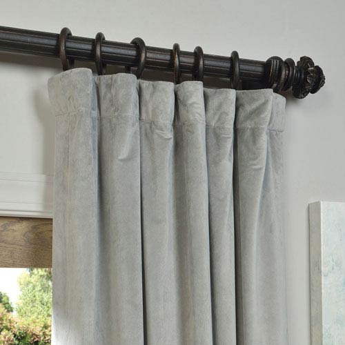 Signature Silver Grey Blackout Velvet Pole Pocket Single Panel Curtain, 50  X 96 Pertaining To Warm Black Velvet Single Blackout Curtain Panels (#33 of 48)