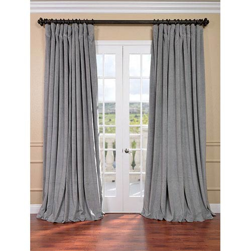 Signature Silver Grey Double Wide Velvet Blackout Pole Pocket Single Panel  Curtain, 100 X 84 Within Signature Ivory Velvet Blackout Single Curtain Panels (#44 of 50)