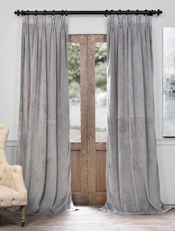Signature Silver Grey Pleated Blackout Velvet Curtain Throughout Signature Ivory Velvet Blackout Single Curtain Panels (#45 of 50)