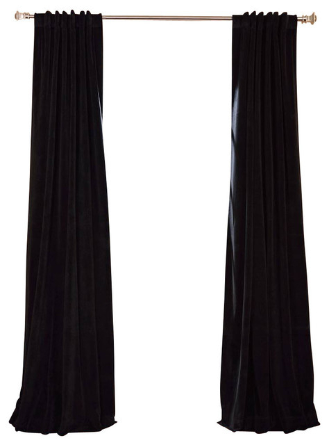 Popular Photo of Warm Black Velvet Single Blackout Curtain Panels