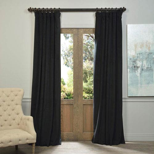 Signature Warm Black Blackout Velvet Pole Pocket Single Panel Curtain, 50 X  120 With Warm Black Velvet Single Blackout Curtain Panels (#35 of 48)