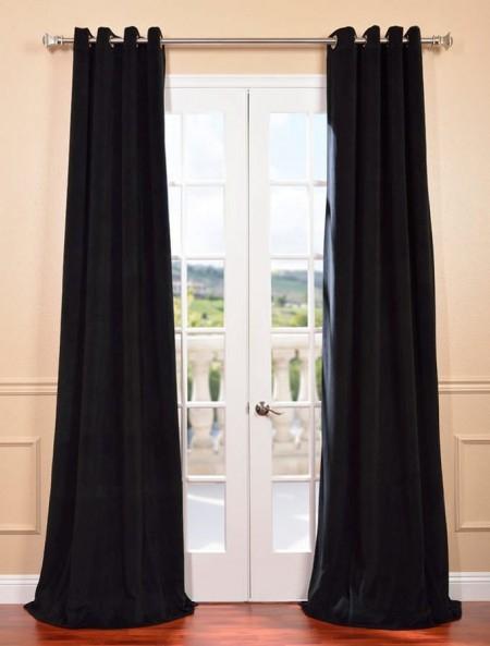 Signature Warm Black Grommet Blackout Velvet Curtain – Firemol Pertaining To Signature Blackout Velvet Curtains (#42 of 50)