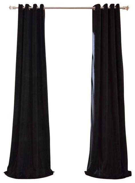 "Signature Warm Black Grommet Blackout Velvet Curtain Single Panel, 50""x120"" With Regard To Warm Black Velvet Single Blackout Curtain Panels (#36 of 48)"