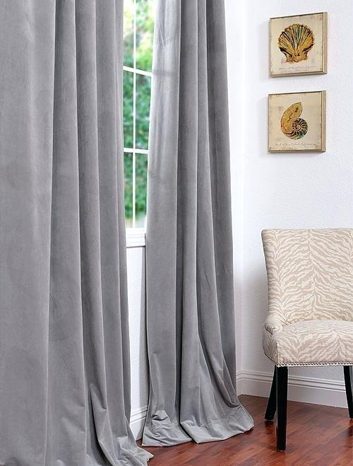 Silver Blackout Curtains Signature Grey Velvet Drapes Half Pertaining To Signature Blackout Velvet Curtains (#44 of 50)