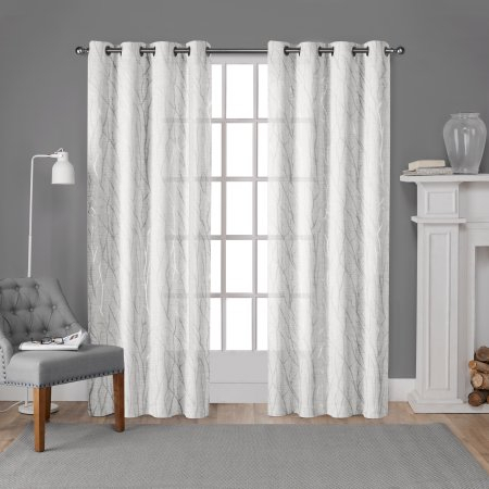 Silver Branch Curtains | Flisol Home Throughout Oakdale Textured Linen Sheer Grommet Top Curtain Panel Pairs (#36 of 41)