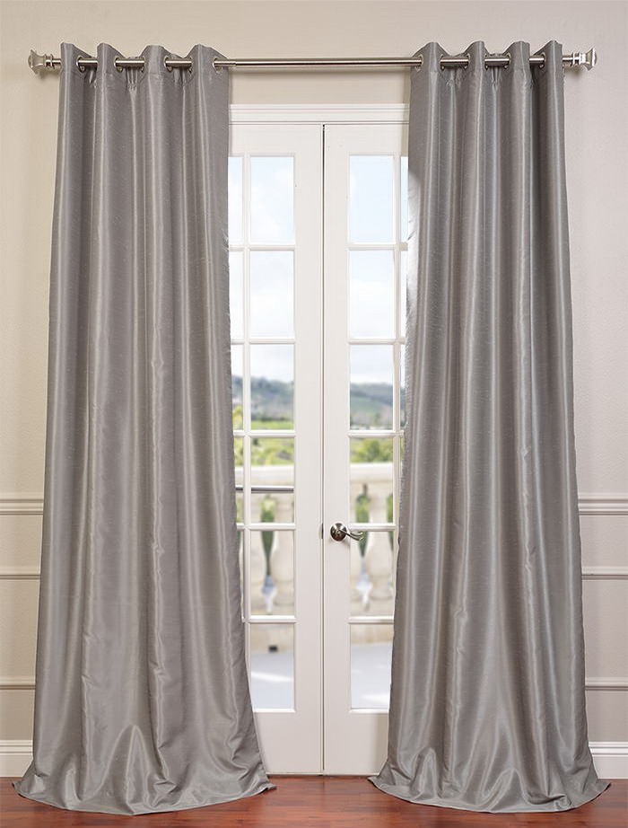 Silver Grommet Blackout Vintage Textured Faux Dupioni Silk Curtain – Curtain Drapery Pertaining To Silver Vintage Faux Textured Silk Curtain Panels (View 9 of 50)