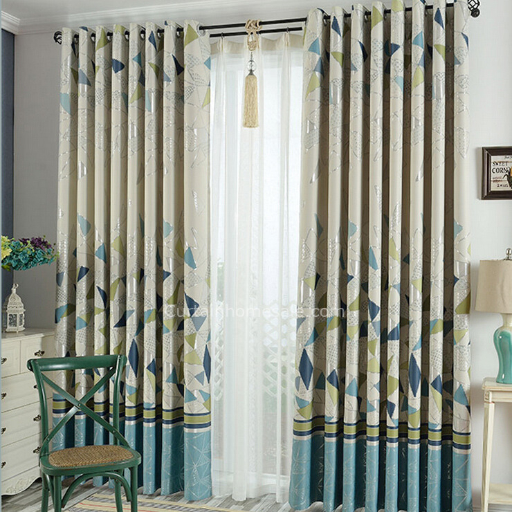 Simple Modern Style Thick Kids Curtains Blue And Bud Green Colors Geometric  Pattern #chs091352411 Inside Geometric Linen Room Darkening Window Curtains (View 43 of 50)