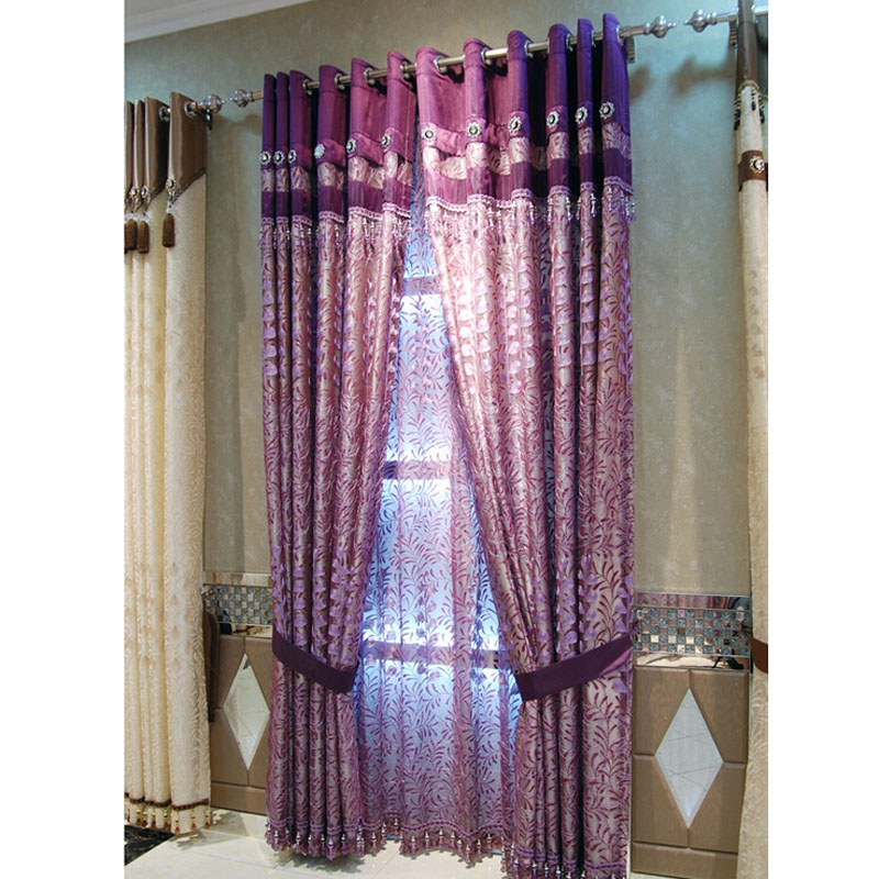 Simple Style Embroidery Floral/leaf Purple Faux Silk Curtains Intended For Ofloral Embroidered Faux Silk Window Curtain Panels (View 29 of 50)