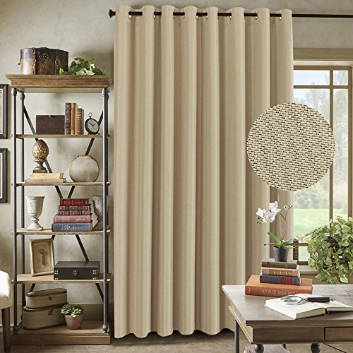 Sliding Glass Door Faux Linen Curtains  Primitive Linen Large Curtains For  Living Room Privacy Blinds For Patio Grommet Blackout Double Wide Curtains With Regard To Faux Linen Extra Wide Blackout Curtains (View 37 of 50)