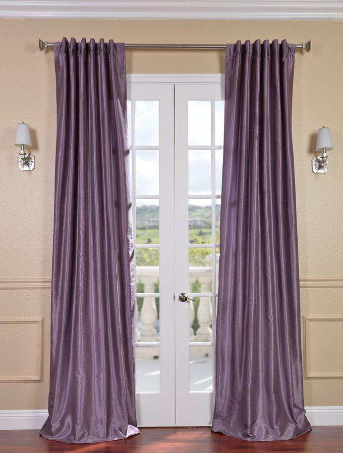 Smokey Plum Vintage Textured Faux Dupioni Silk Curtain Inside Storm Grey Vintage Faux Textured Dupioni Single Silk Curtain Panels (View 4 of 50)