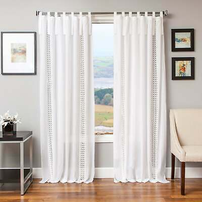 Softline Tie Tab Cotton And Linen Macrame Curtain Panel | Ebay Pertaining To Archaeo Washed Cotton Twist Tab Single Curtain Panels (View 17 of 21)