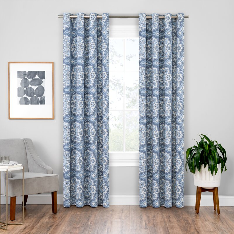 Soleil Floral Blackout Grommet Curtain Panels With Regard To Blackout Grommet Curtain Panels (View 20 of 40)