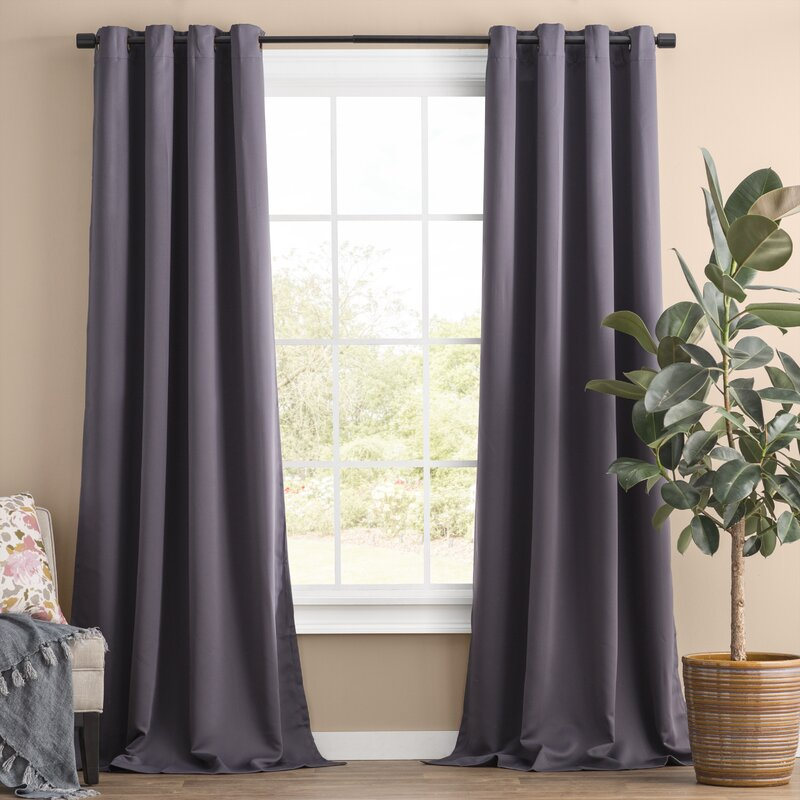 Solid Blackout Thermal Grommet Curtain Panels Inside Geometric Print Textured Thermal Insulated Grommet Curtain Panels (View 36 of 45)