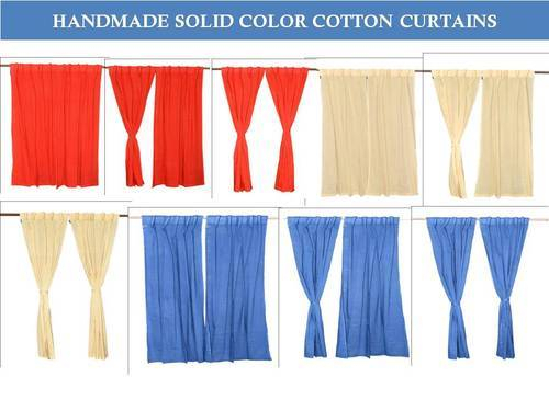 Solid Color Drapes Door Cotton Curtains Pertaining To Solid Cotton Pleated Curtains (#44 of 50)