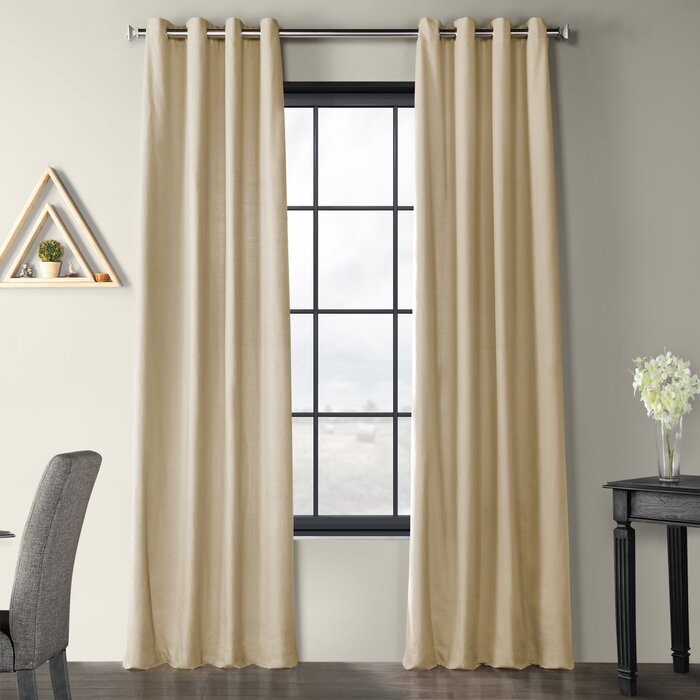 Solid Country Cotton Linen Solid Color Room Darkening Grommet Single  Curtain Panel Throughout Solid Cotton Curtain Panels (#41 of 47)