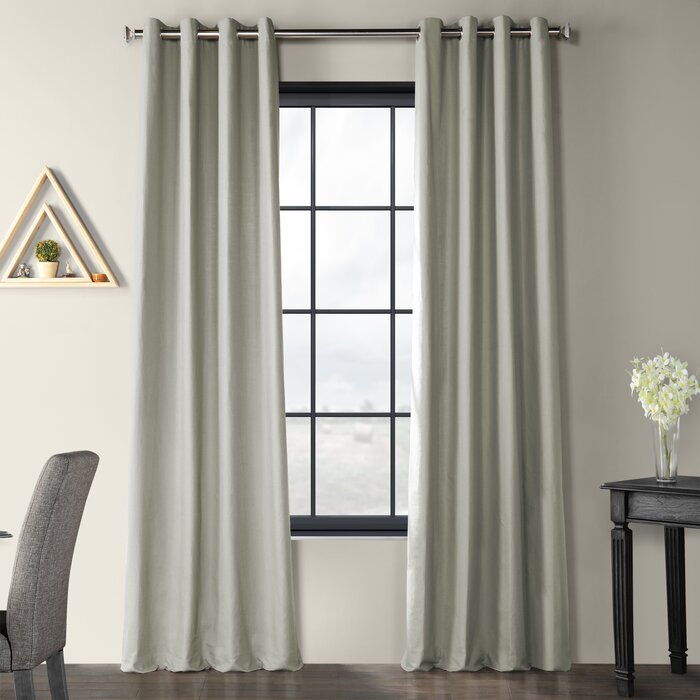 Solid Country Cotton Linen Solid Color Room Darkening Grommet Single  Curtain Panel Throughout Solid Country Cotton Linen Weave Curtain Panels (#37 of 50)