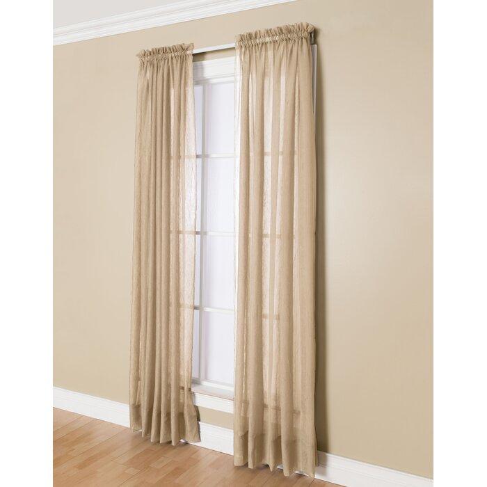 Solunar Solid Sheer Rod Pocket Single Curtain Panel Regarding Light Filtering Sheer Single Curtain Panels (#32 of 38)