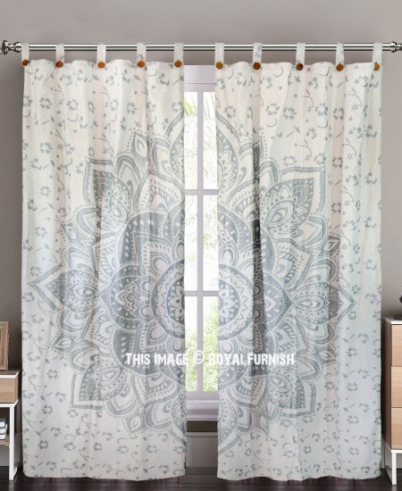 Sparkly Silver Geometric Flower Ombre Mandala Tapestry Curtain Panel Pair In Ombre Embroidery Curtain Panels (View 43 of 50)