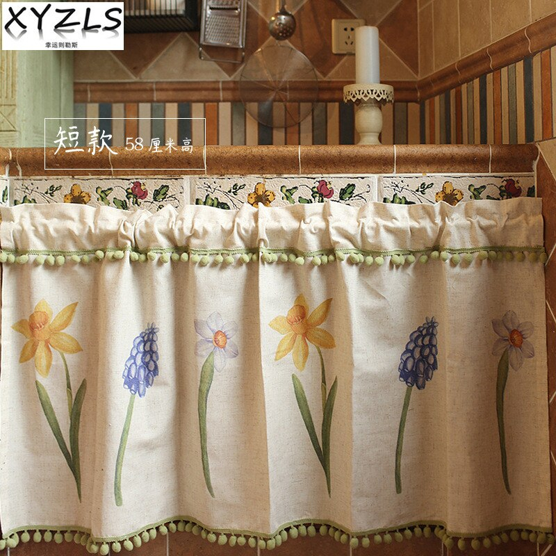 Special Offer) Xyzls New Pastoral Dust Screen Kitchen Inside Solid Country Cotton Linen Weave Curtain Panels (#38 of 50)