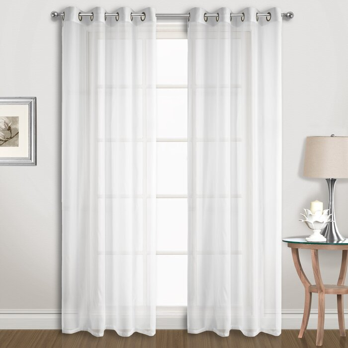Special Solid Sheer Grommet Curtain Panels Throughout Solid Grommet Top Curtain Panel Pairs (View 9 of 35)