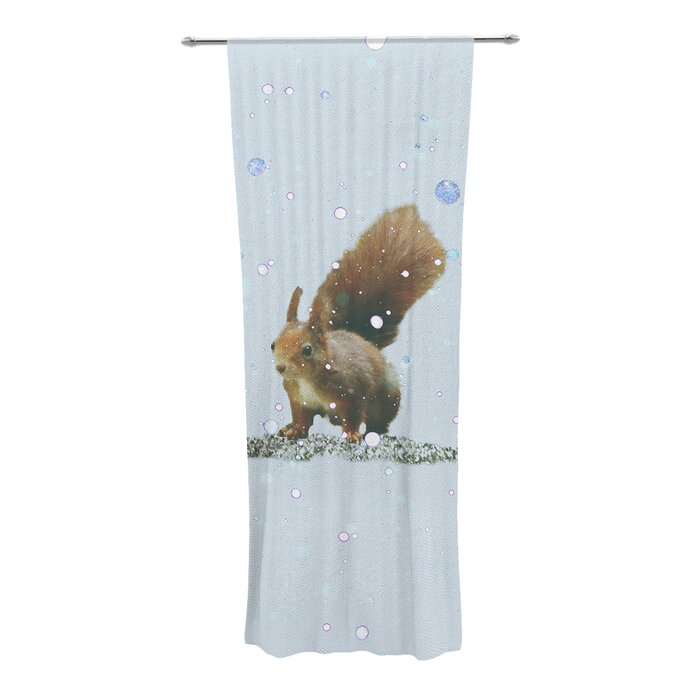 Squirrel Graphic Print & Text Sheer Rod Pocket Curtain Panels With Regard To The Gray Barn Kind Koala Curtain Panel Pairs (View 11 of 50)