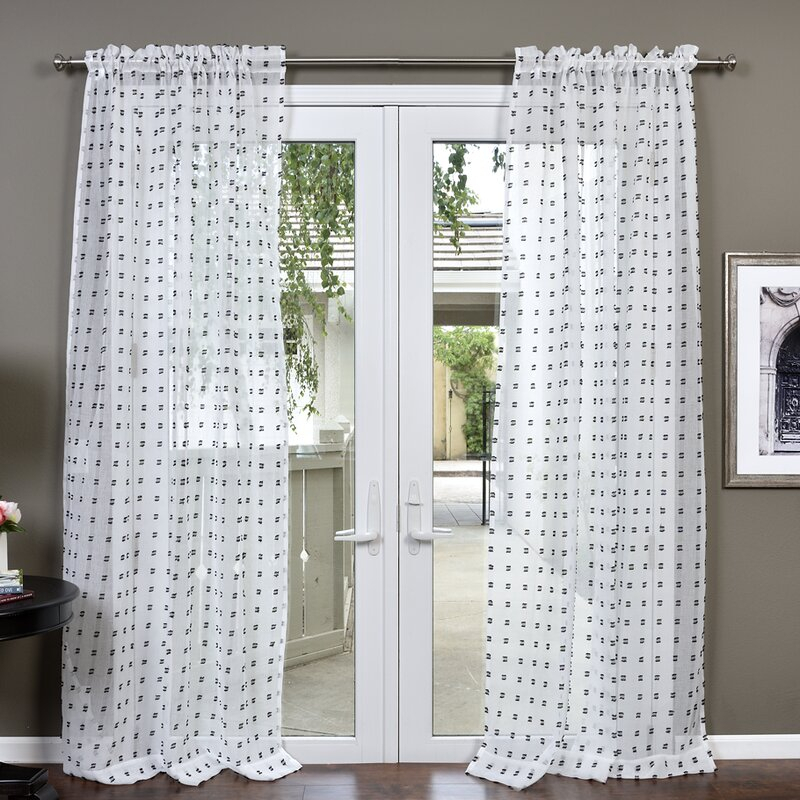 Stach Polka Dots Sheer Rod Pocket Single Curtain Panel Intended For Light Filtering Sheer Single Curtain Panels (View 34 of 38)