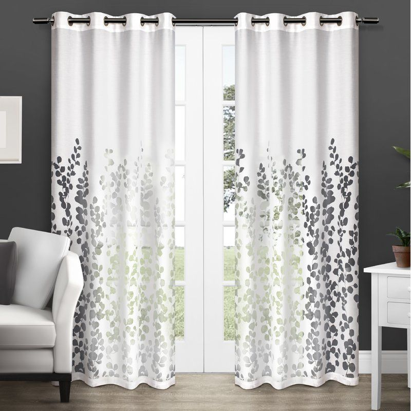 Stanton Floral/flower Semi Sheer Grommet Curtain Panels Inside Keyes Blackout Single Curtain Panels (View 2 of 50)