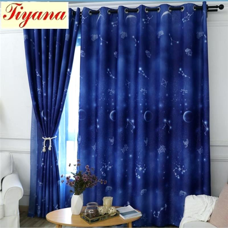 Star Curtains Inside Star Punch Tulle Overlay Blackout Curtain Panel Pairs (#43 of 50)
