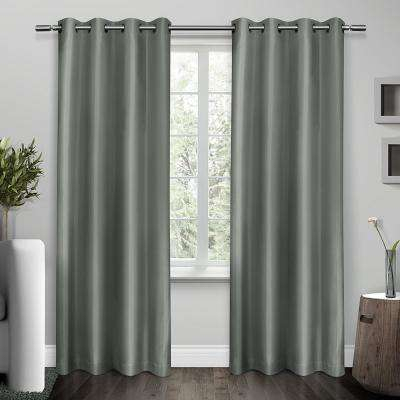 Steel Blue – Window Treatments – The Home Depot Inside Easton Thermal Woven Blackout Grommet Top Curtain Panel Pairs (#36 of 44)