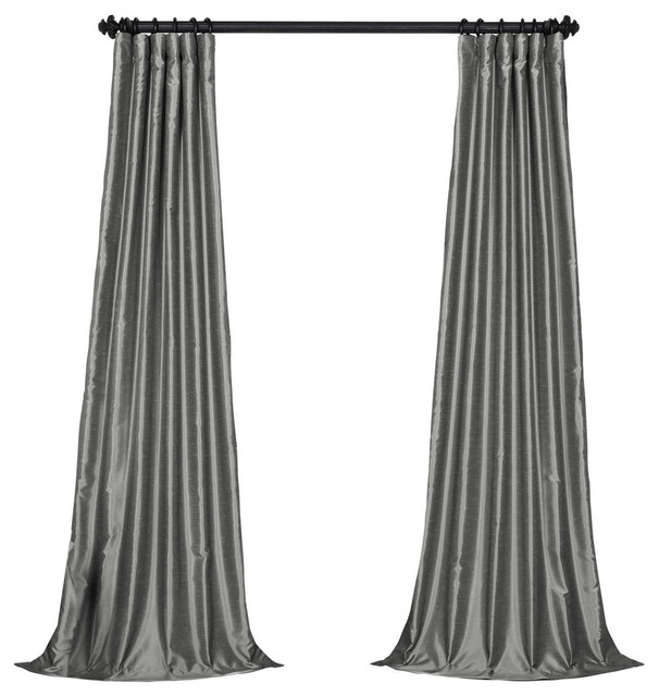 """Storm Gray Textured Vintage Fauxdupioni Silk Curtain Single Panel, 50""""x120"""" With Storm Grey Vintage Faux Textured Dupioni Single Silk Curtain Panels (View 7 of 50)"""