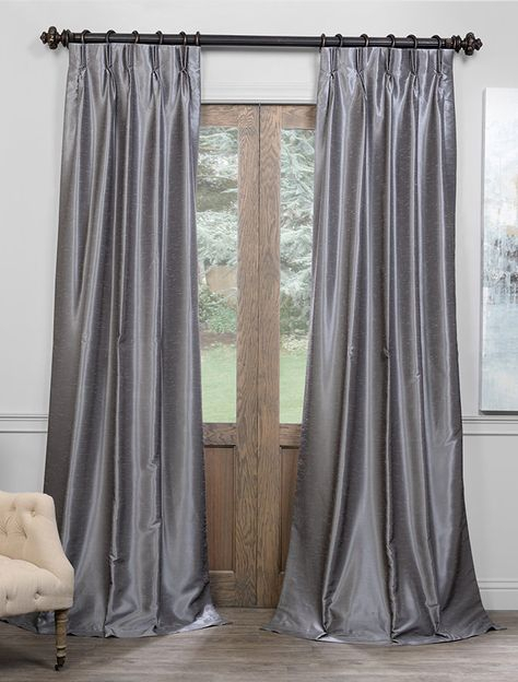 Storm Grey Blackout Vintage Textured Faux Dupioni Pleated Throughout Storm Grey Vintage Faux Textured Dupioni Single Silk Curtain Panels (View 6 of 50)