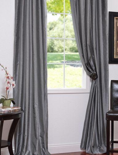 Storm Grey Textured Vintage Faux Dupioni Silk Curtain | For Within Storm Grey Vintage Faux Textured Dupioni Single Silk Curtain Panels (View 9 of 50)