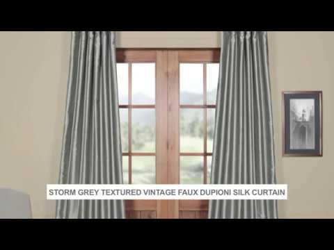 Storm Grey Textured Vintage Faux Dupioni Silk Curtain In Storm Grey Vintage Faux Textured Dupioni Single Silk Curtain Panels (View 13 of 50)