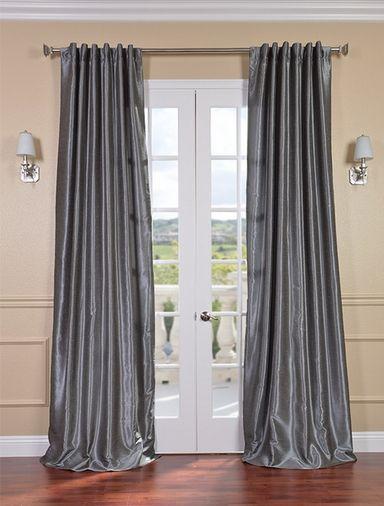 Storm Grey Vintage Textured Faux Dupioni Silk Curt Pertaining To Storm Grey Vintage Faux Textured Dupioni Single Silk Curtain Panels (View 5 of 50)