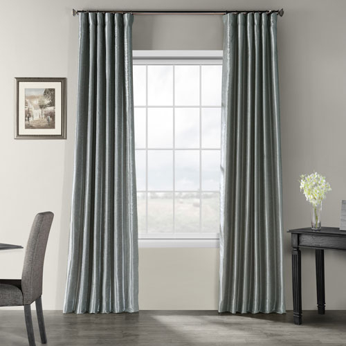 Storm Grey Vintage Textured Faux Dupioni Silk Single Panel Curtain, 50 X 108 Inside Luxury Collection Faux Leather Blackout Single Curtain Panels (View 16 of 42)