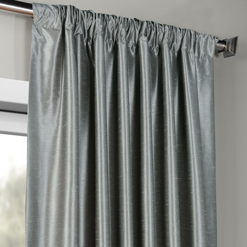 Storm Grey Vintage Textured Faux Dupioni Silk Single Panel Curtain, 50 X 120 Pertaining To Storm Grey Vintage Faux Textured Dupioni Single Silk Curtain Panels (View 18 of 50)