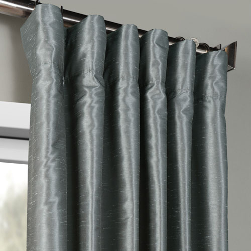 Storm Grey Vintage Textured Faux Dupioni Silk Single Panel Curtain, 50 X 120 With Storm Grey Vintage Faux Textured Dupioni Single Silk Curtain Panels (View 10 of 50)