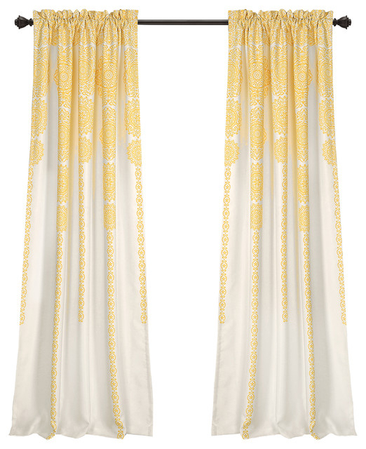 "Stripe Medallion Room Darkening Window Curtain Panels Yellow 52""x84""+2 Set Within Julia Striped Room Darkening Window Curtain Panel Pairs (#35 of 37)"