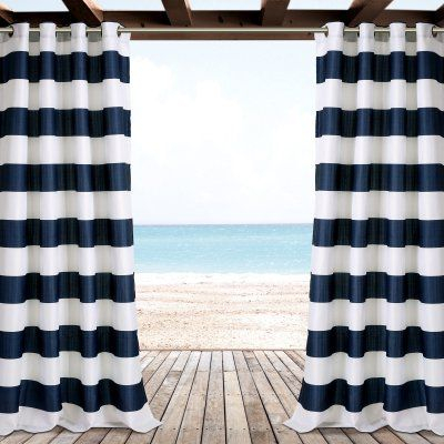 Stripe Outdoor Curtain Panel Pairlush Decor – 16T001465 With Ocean Striped Window Curtain Panel Pairs With Grommet Top (#30 of 41)