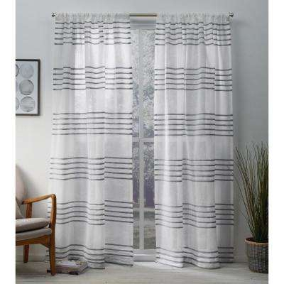 Striped – Set – Curtains & Drapes – Window Treatments – The Throughout Ocean Striped Window Curtain Panel Pairs With Grommet Top (#31 of 41)