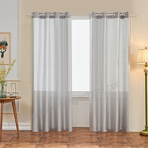 Subrtex 2 Panels Faux Silk Semi Sheer Window Elegance Inside Andorra Watercolor Floral Textured Sheer Single Curtain Panels (View 38 of 46)