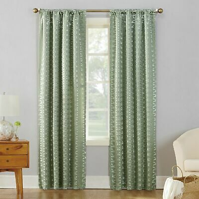 "Sun Zero 52"" X 95"" Curtain Panel Atticus Metallic Jacquard Blackout Green  L95024 29927519440   Ebay In Elrene Mia Jacquard Blackout Curtain Panels (View 35 of 37)"