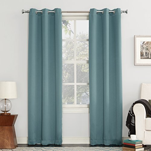 "Sun Zero 53468 Easton Blackout Energy Efficient Grommet Curtain Panel, 40""  X 108"", Mineral For Easton Thermal Woven Blackout Grommet Top Curtain Panel Pairs (#37 of 44)"