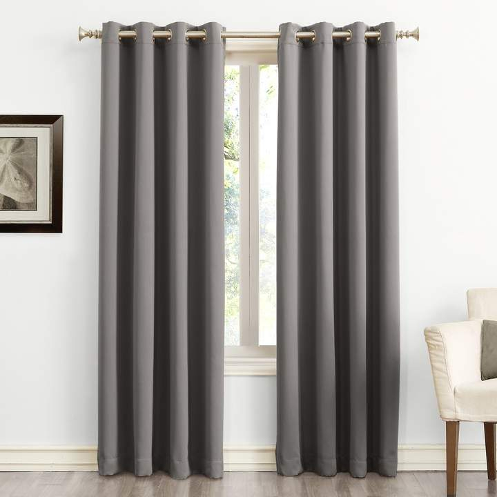 Sun Zero Blackout 1 Panel Ludlow Grommet Window Curtain Throughout Luxury Collection Faux Leather Blackout Single Curtain Panels (View 13 of 42)