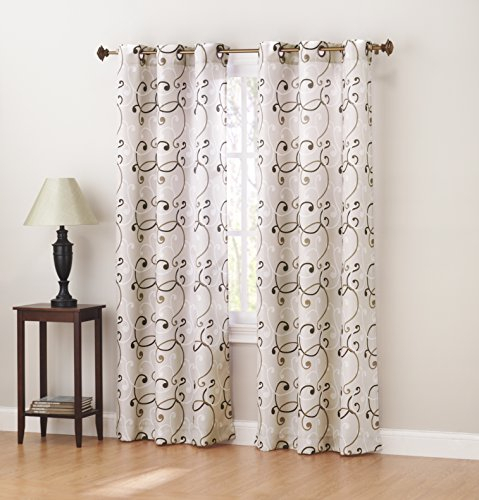 "Sun Zero Brice Thermal Lined Grommet Curtain Panel, 40 X 63"", Natural Inside Lined Grommet Curtain Panels (#25 of 31)"